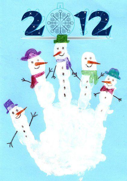 Новогодние открытки ладошками