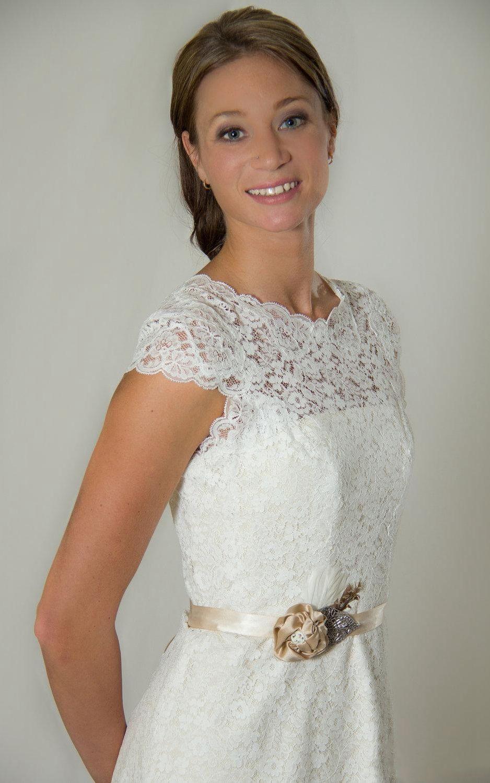 Us u cap sleeve illusion neck short lace wedding dress