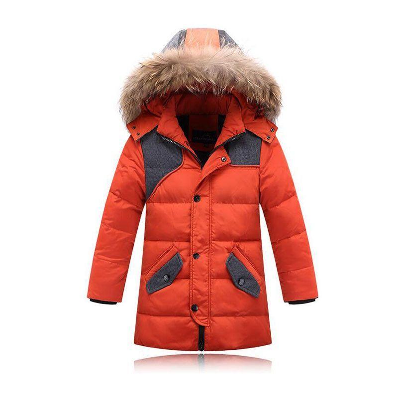 Duck Down Boys Winter Parka W/ Faux Fur Hood / 7-12 / 4 Colors