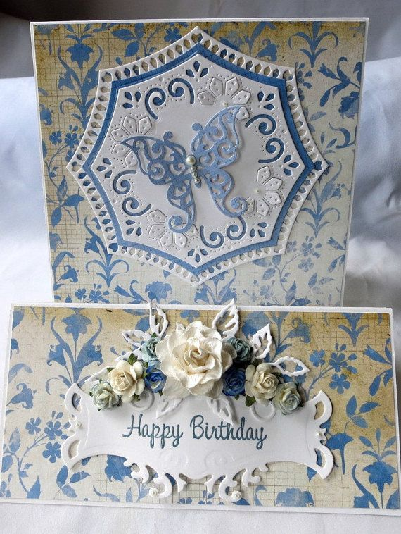 Floral Butterfly Happy Birthday Card by AluminumButterfly on Etsy