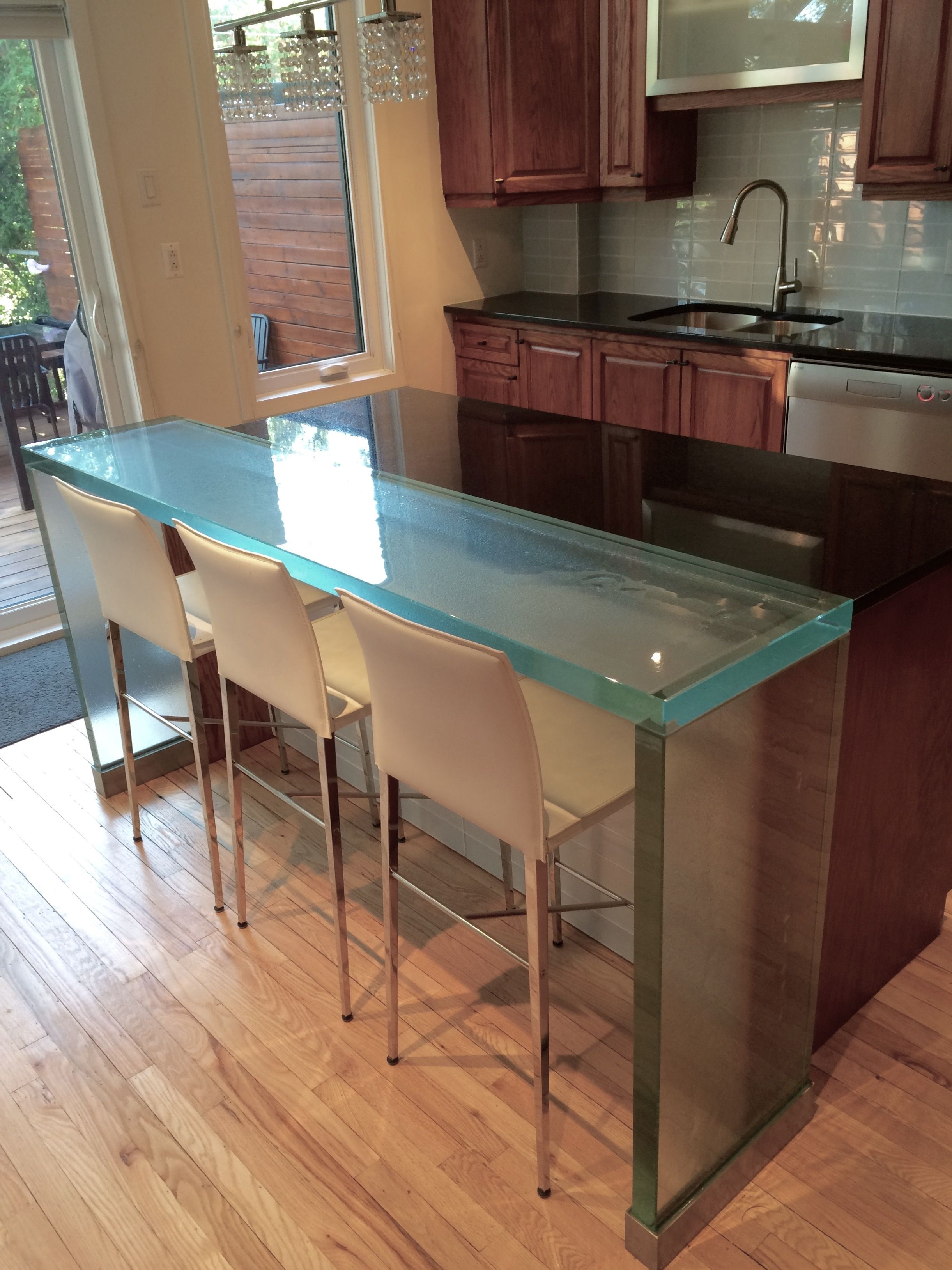 Think Glass Countertops Thinkglass Lunch Counter And Waterfall Legs Thinkglass