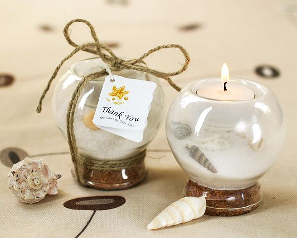Sand And Shell Tea Light Holders Are Rustic Beach Wedding Favors