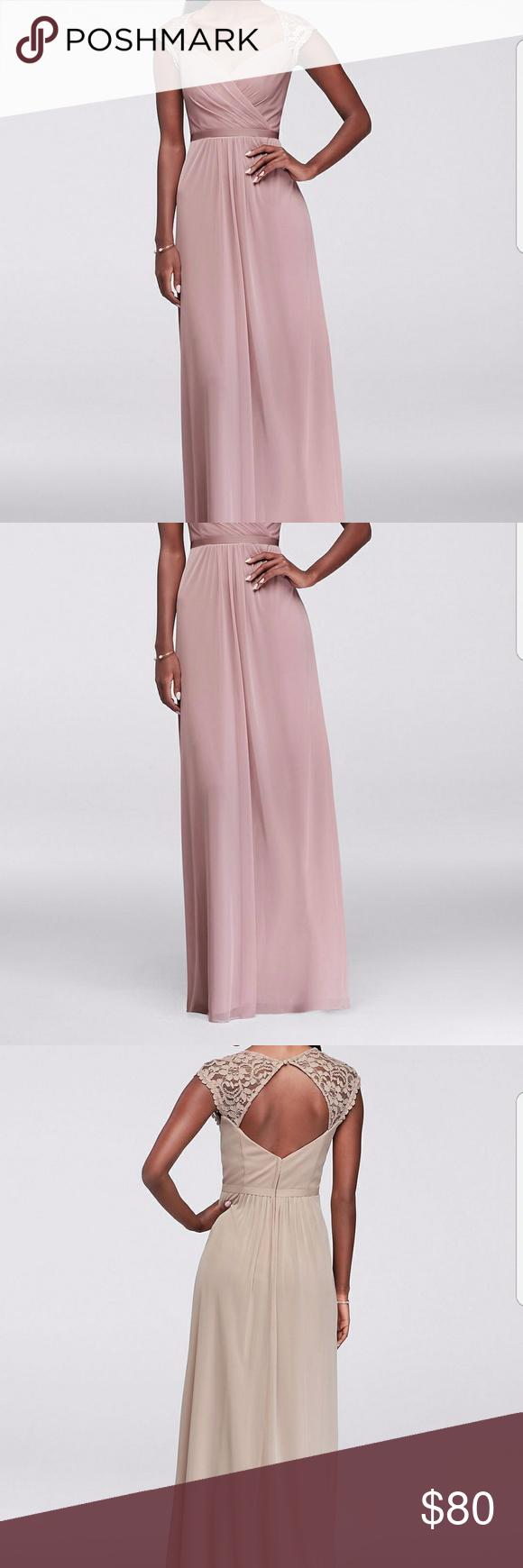 Davidus bridal metallic lace cap sleeve long dress prom heels