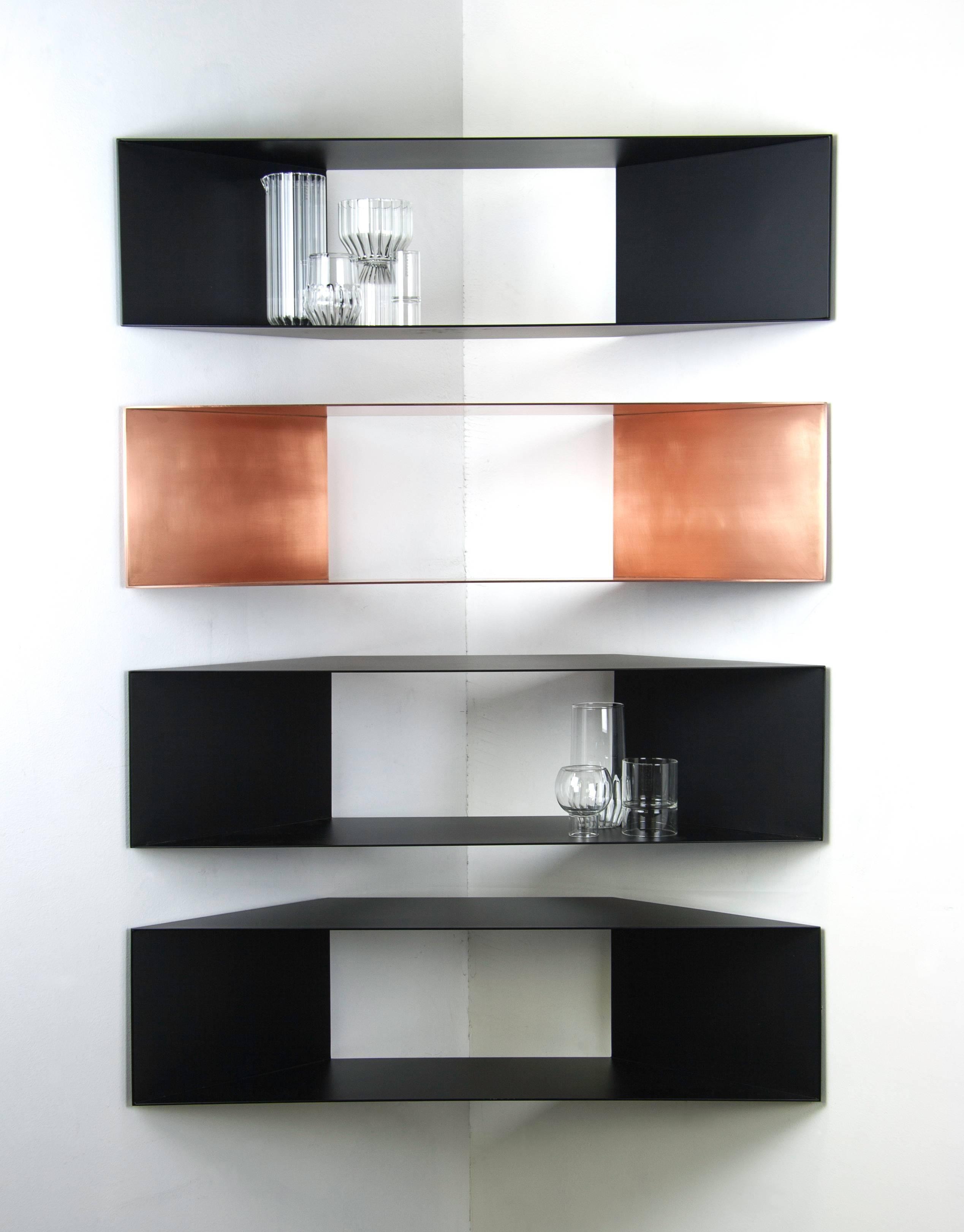 Contemporary Minimal Sculptural Metal Black And Copper Corner Shelves Corner Shelves Shelves Home Decor