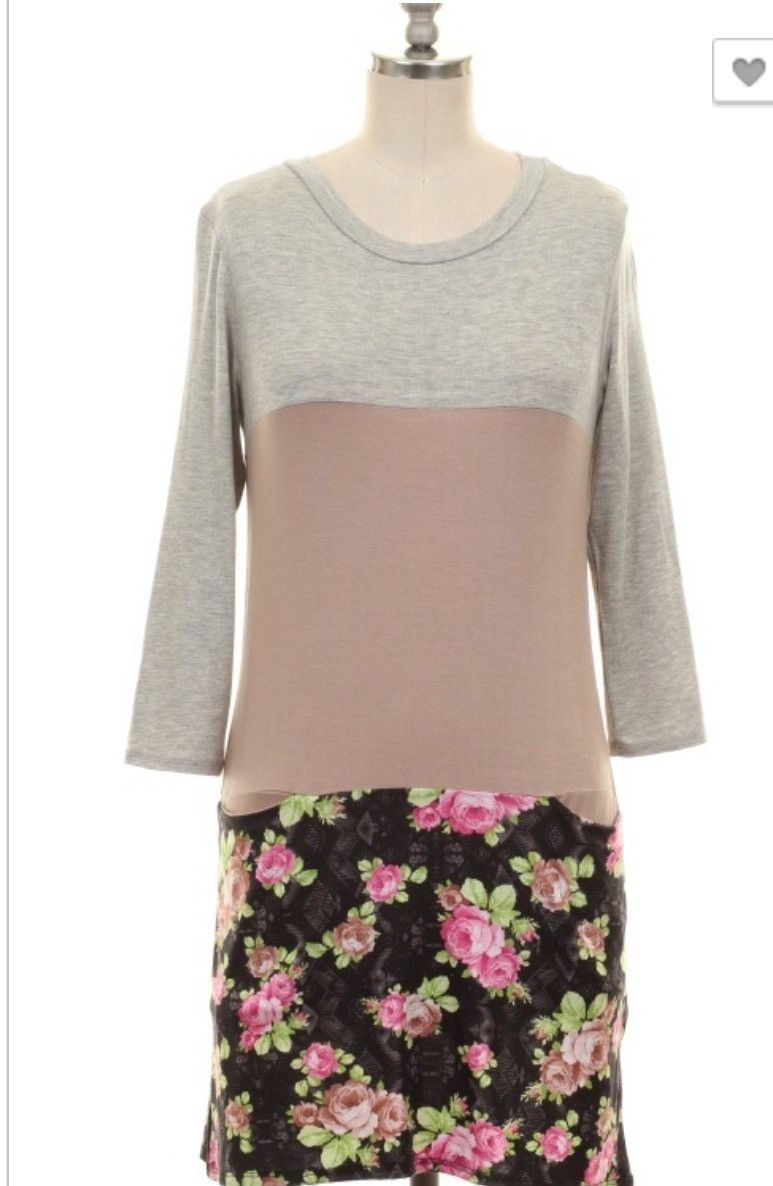 Floral colorblock tunic