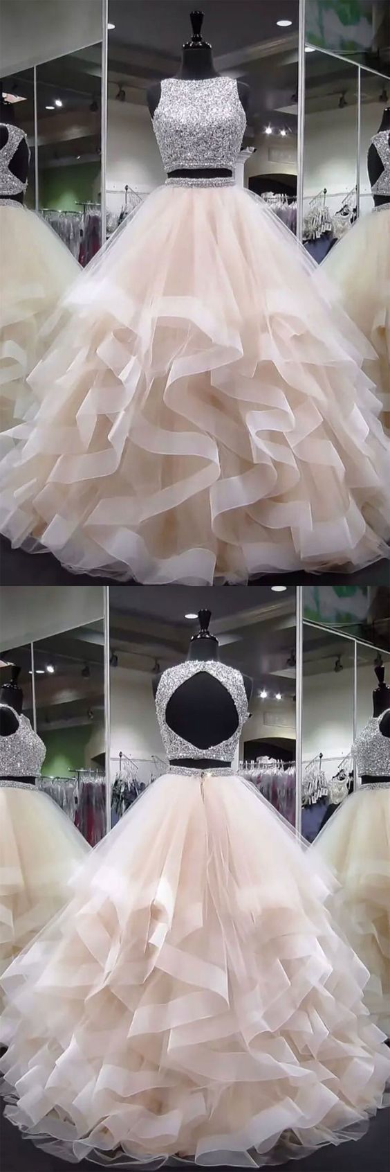 53c8d7792d2 Elegant Ball Gown Two Piece Scoop Open Back Champagne Tulle Long Prom  Dresses with Beading