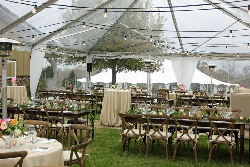 Clear Top Tent Wedding In Georgia With Crossback Chairs And Farm Tables Venues