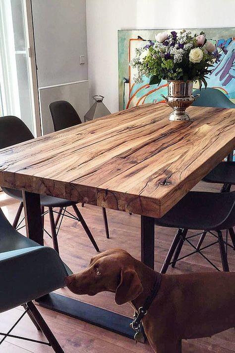 Esstisch massivholztisch nussbaum holztisch naturkante for Wohnung tisch