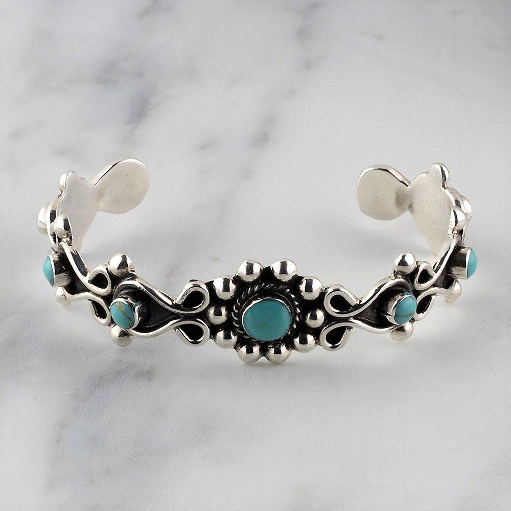 Western Style Turquoise Flower Cuff Bracelet #gemstonejewelry