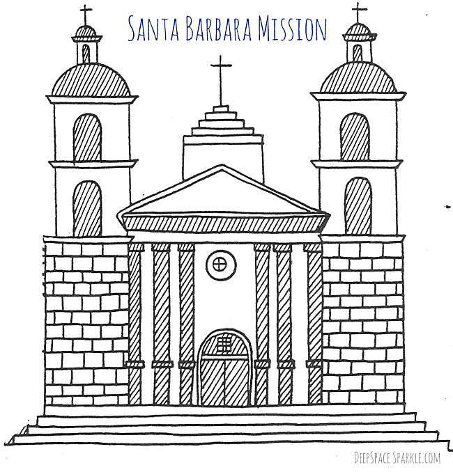the santa barbara mission is perched on top of a gentle hill over looking the city and the distant ocean an extensive rose garden offers the visitor a