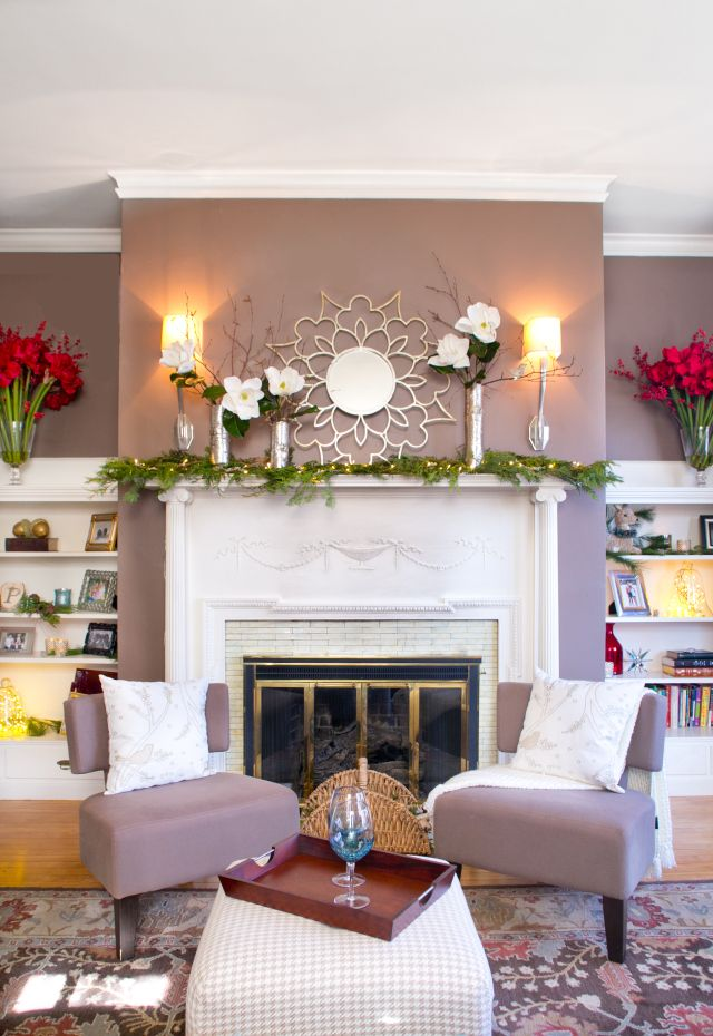 Holiday fireplace mantle decor, magnolia and birch stems ...