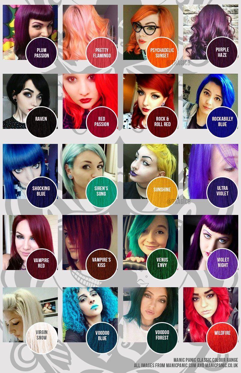 Manic Panic Colour Chart Classic Tragic Beautiful Hair Dye Color Chart Fox Hair Dye Hair Dye Colors