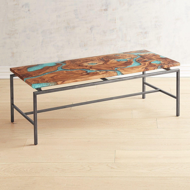 Moraine Wood Teal Resin Coffee Table Pier 1 Imports Coffee Table Round Glass Coffee Table Rustic Coffee Tables [ 1500 x 1500 Pixel ]