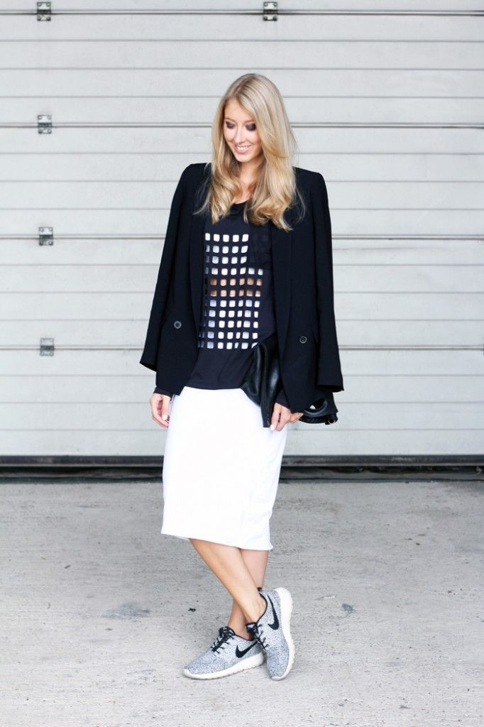 Outfit Avelon Cut-out Shirtwhite Pencil Skirt + Nike Roshe Sneakers | MyDubio | Fashion Looks ...