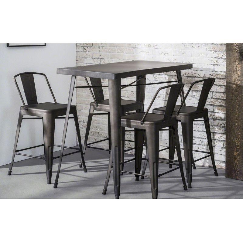 Table Snack Bar Plateau Et Pietement Metal Acier Finition