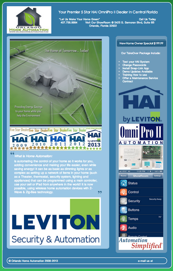 Orlando Home Automation Leviton/HAI Flyer | Orlando Smart Home ...