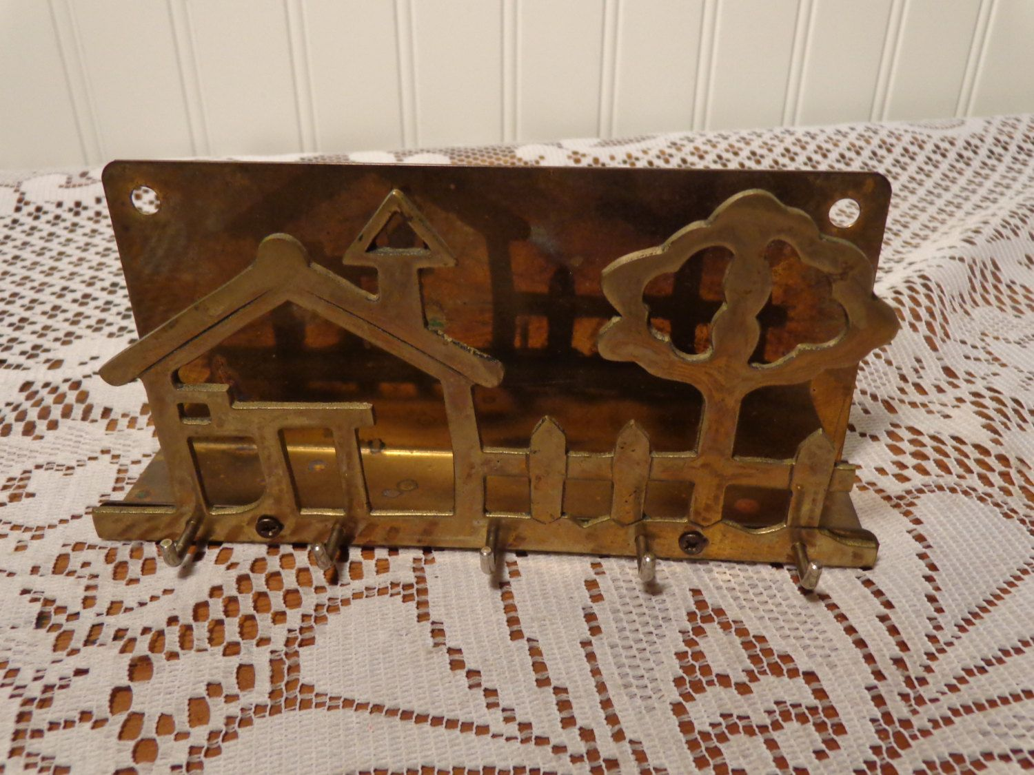 Vintage Brass Hanging Mail Rack with Pegs for Hats, Leashes, Potholders or Keys  - 16-198 by BubbiesMemories on Etsy