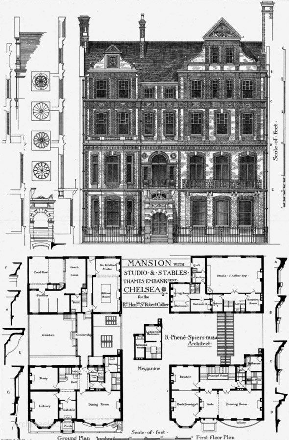 1879 Mansion With Studio Stables Thames Embankment Chelsea London Archiseek Com Vintage House Plans Architecture Plan Architecture