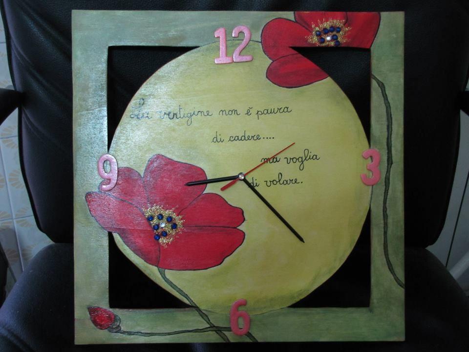 """orologio in legno """"i papaveri"""""""