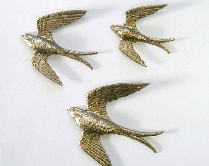 Golden Swallows Bird Wall Art Vintage Burwood Bird Hangings 3 Gold Bird Wall Hangings Flying Bird Art Fly Bird Wall Art Bird Wall Decor Ceramic Birds Wall