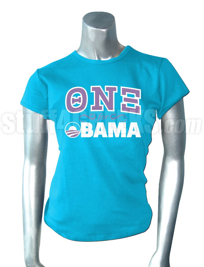 Theta Nu Xi For Obama T-Shirt, Light Blue  Item Id: PRE-ST-QNX-FOR-OBAMA-LBLUE  Price:  $39.00