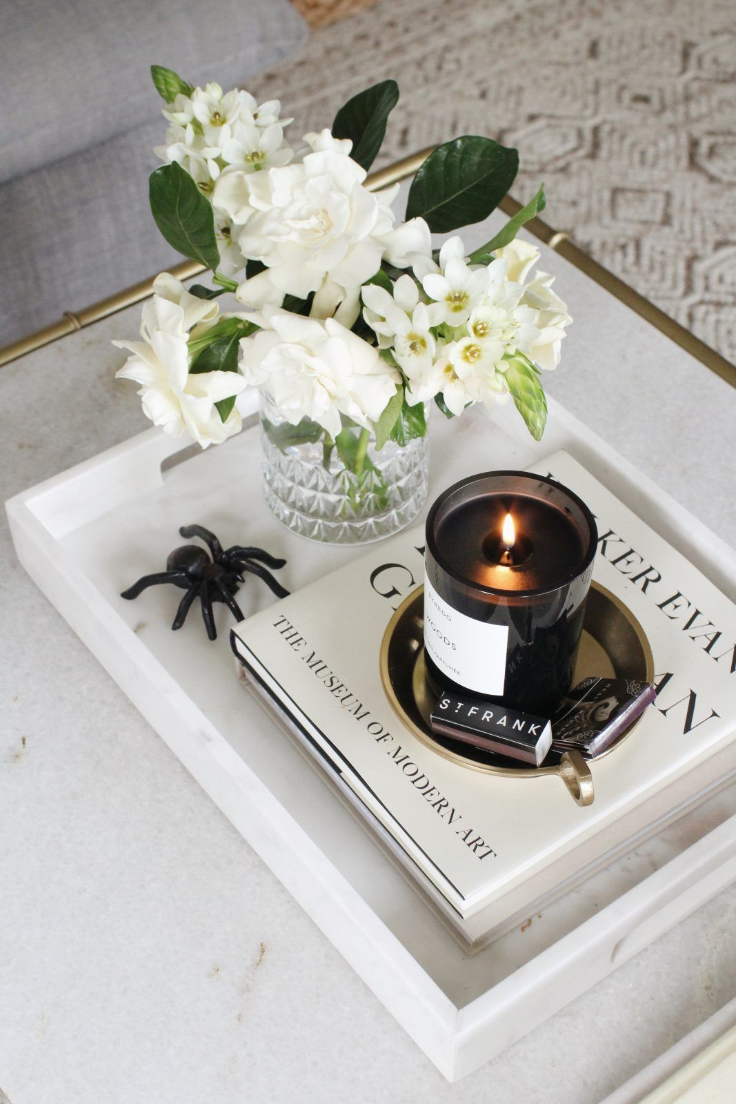 Perfect Home Accent: White Marble Tray - Harlowe James