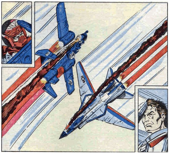 After an amazing duel in the skies between the COBRA Rattler, and the JOE Sky Striker, their missiles depleted, their cannons empty, their aircraft shot up beyond recognition, Wild Weasel and Ace exchange salutes, and head off in opposite directions.  Awesome.