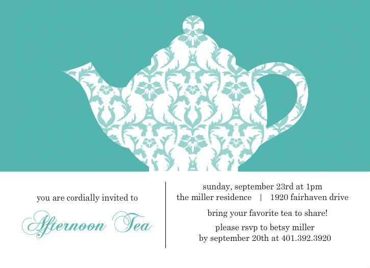 Tea Party Invitations  Turquoise Damask Tea Party Invitation