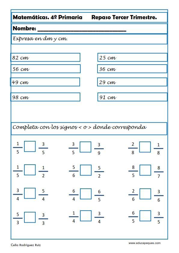 Fichas de Matemáticas Cuarto Primaria | fracţii | Fichas de ...