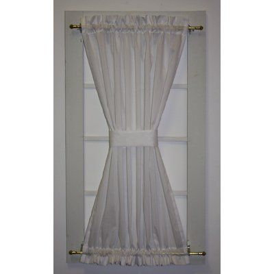 August Grove Kerry Solid Colour Door Panel Curtain With Tie Back Size Per Panel 40 W X 30 L Colour White Curtain For Door Window Curtains Front Doors With Windows