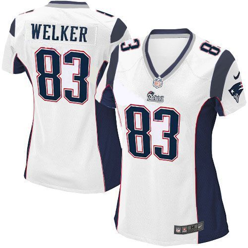ecb9b9fb8 New Women s White NIKE Game New England Patriots  83 Wes Welker NFL Jersey