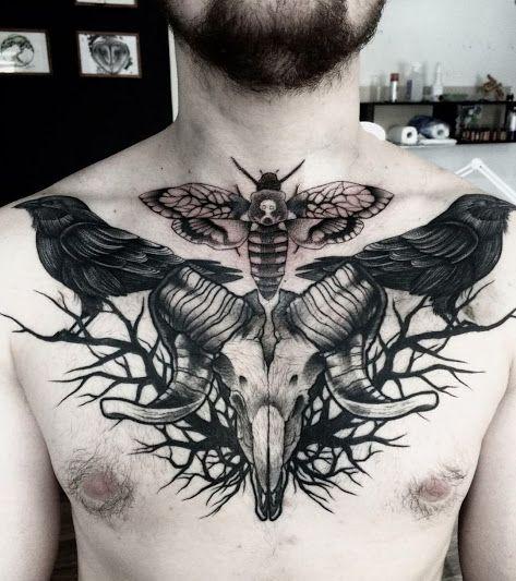 29 07 16 Chest Tattoo Ram Tattoo Satanic Tattoos