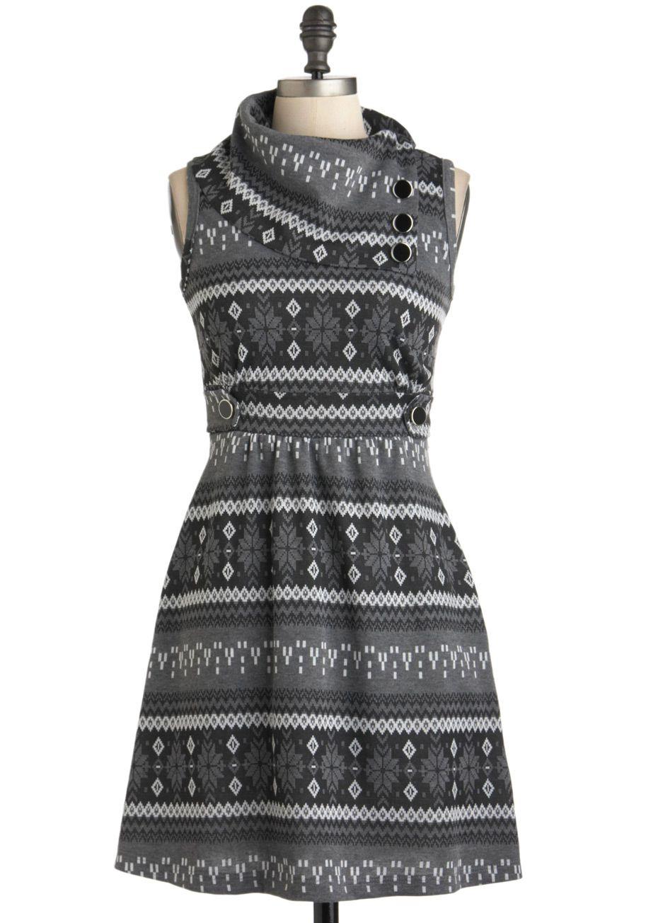 Coach Tour Dress in Winter - Short, Grey, Print, Buttons, Casual, Rustic, Sweater Dress, Sleeveless, Winter, Work