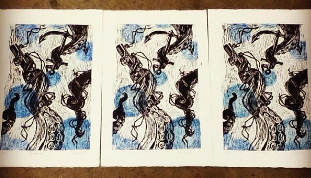 Edition of 3 #tentacles #anchor #art #printmaking #relief