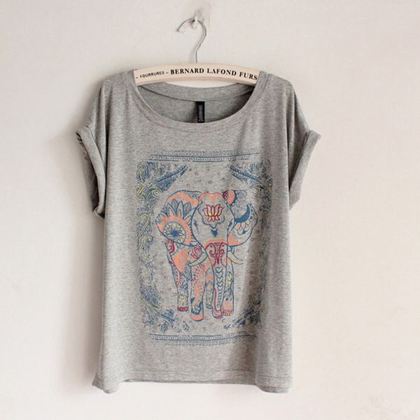 Elephant Print Grey T-Shirt-Romwe