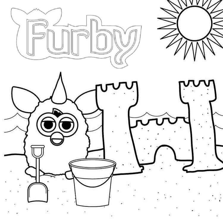 Furby Building A Castle Coloring Page Furby Coloring Pages