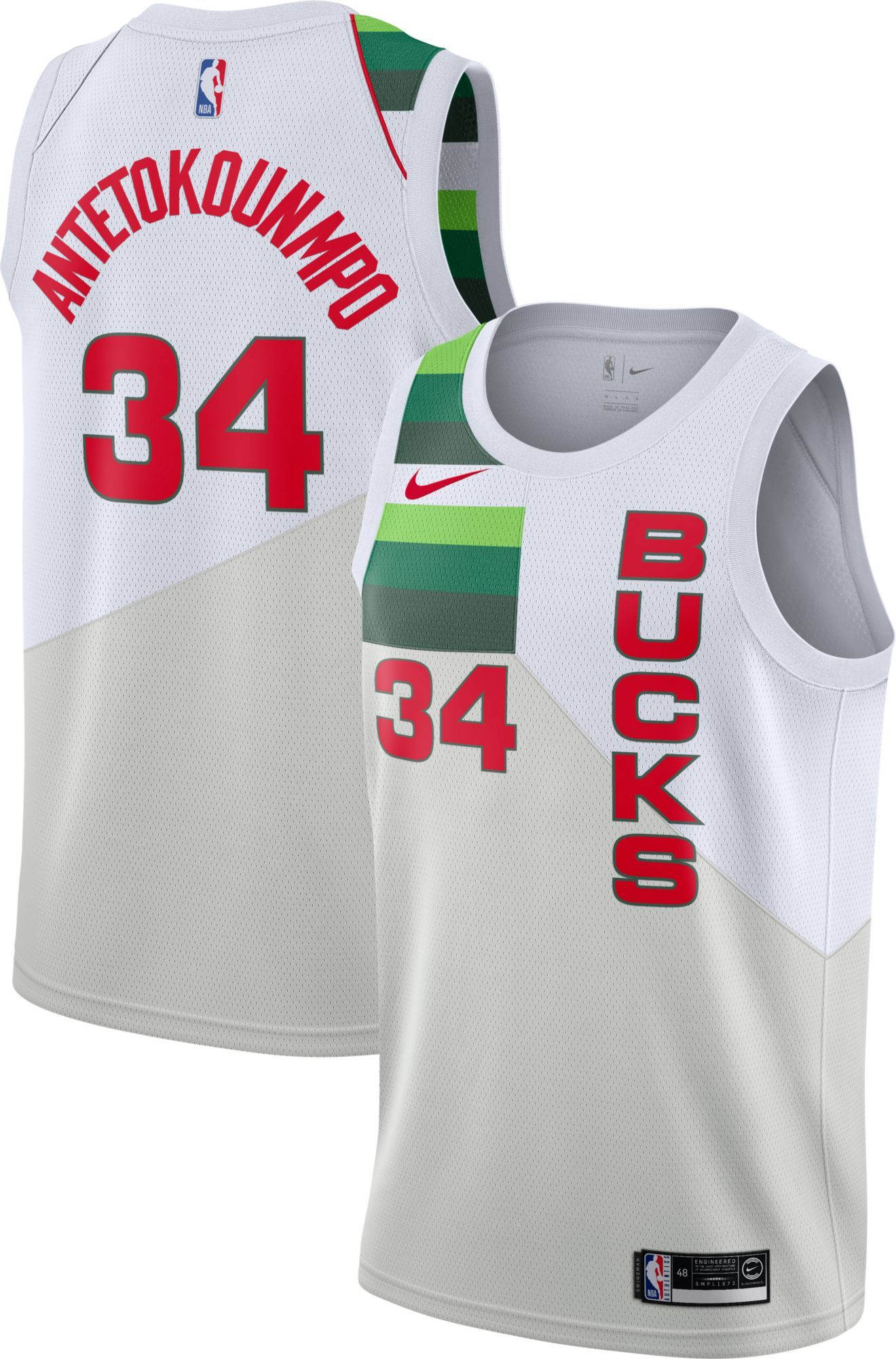 7a9d63a8f7b Nike Men's Milwaukee Bucks Giannis Antetokounmpo Dri-FIT Earned Edition  Swingman Jersey, Size: Medium, White