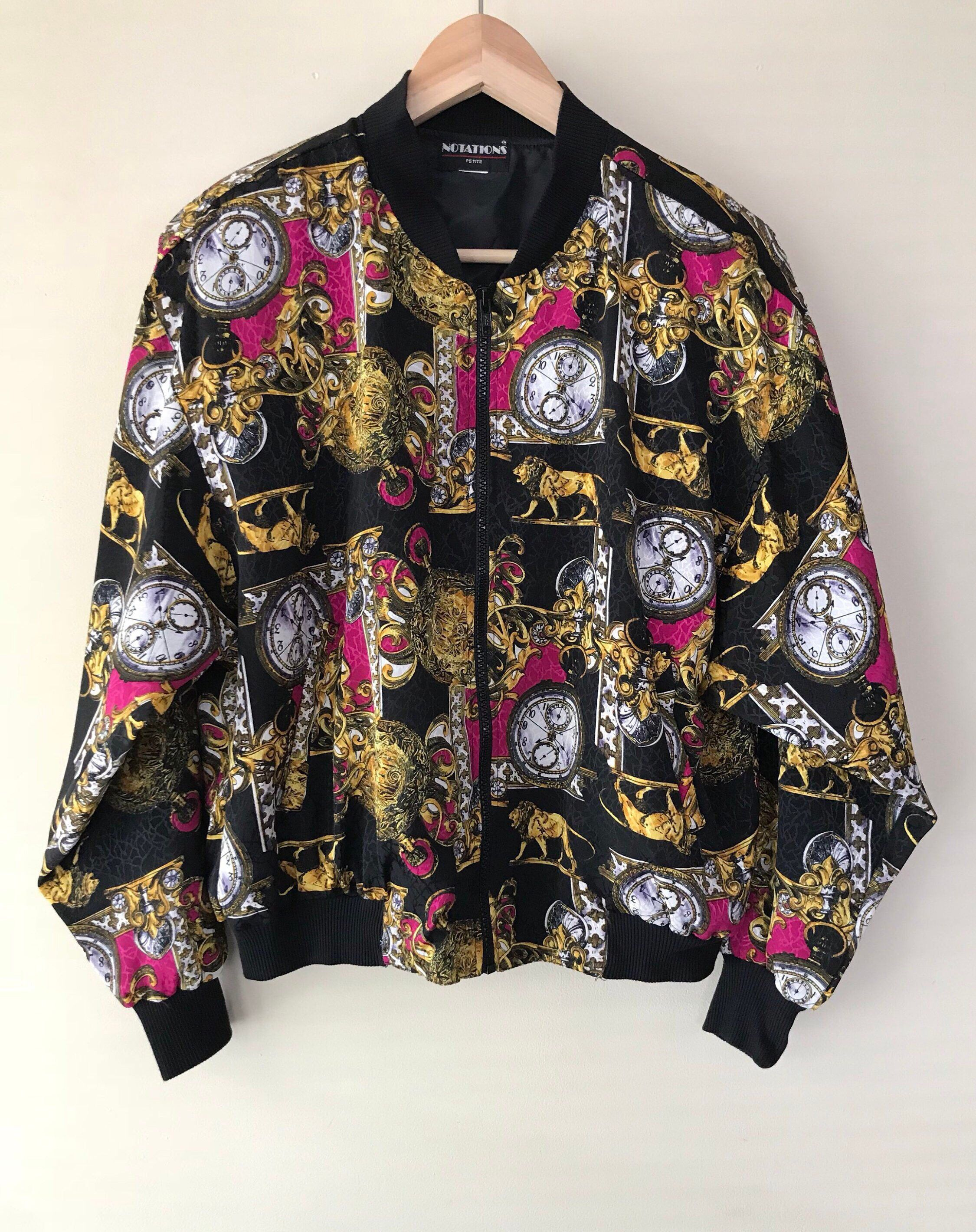 2014ac78037 Excited to share this item from my  etsy shop  Vintage 80s Baroque Rococo  Pattern Colorful Gold Chain Nylon Bomber Jacket by Notations