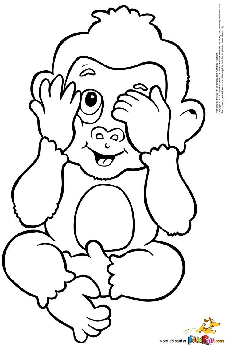 Cute Monkey Coloring Pages, Baby Monkey Coloring Page - Cute ...
