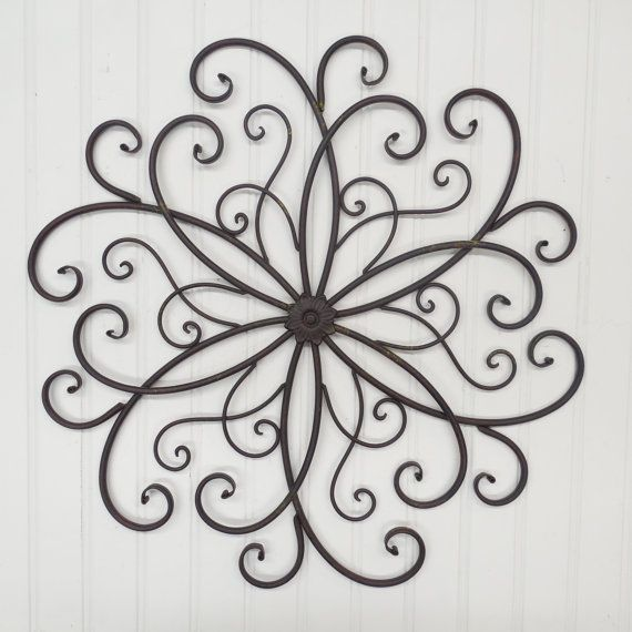 Large Wrought Iron Wall Scroll Rust Metal Wall By Theshabbystore