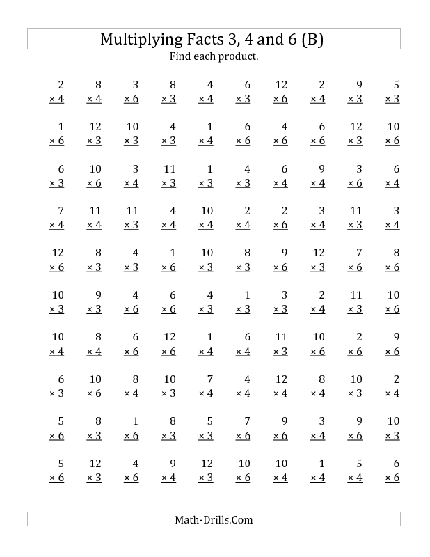 Multiplication Worksheet -- Multiplying by Facts 3, 4 and 6 (Other ...