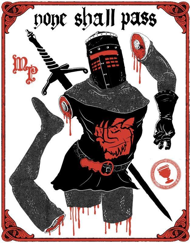 Black Knight An Art Print By Evanimal Monty Python Blackest Knight Knight