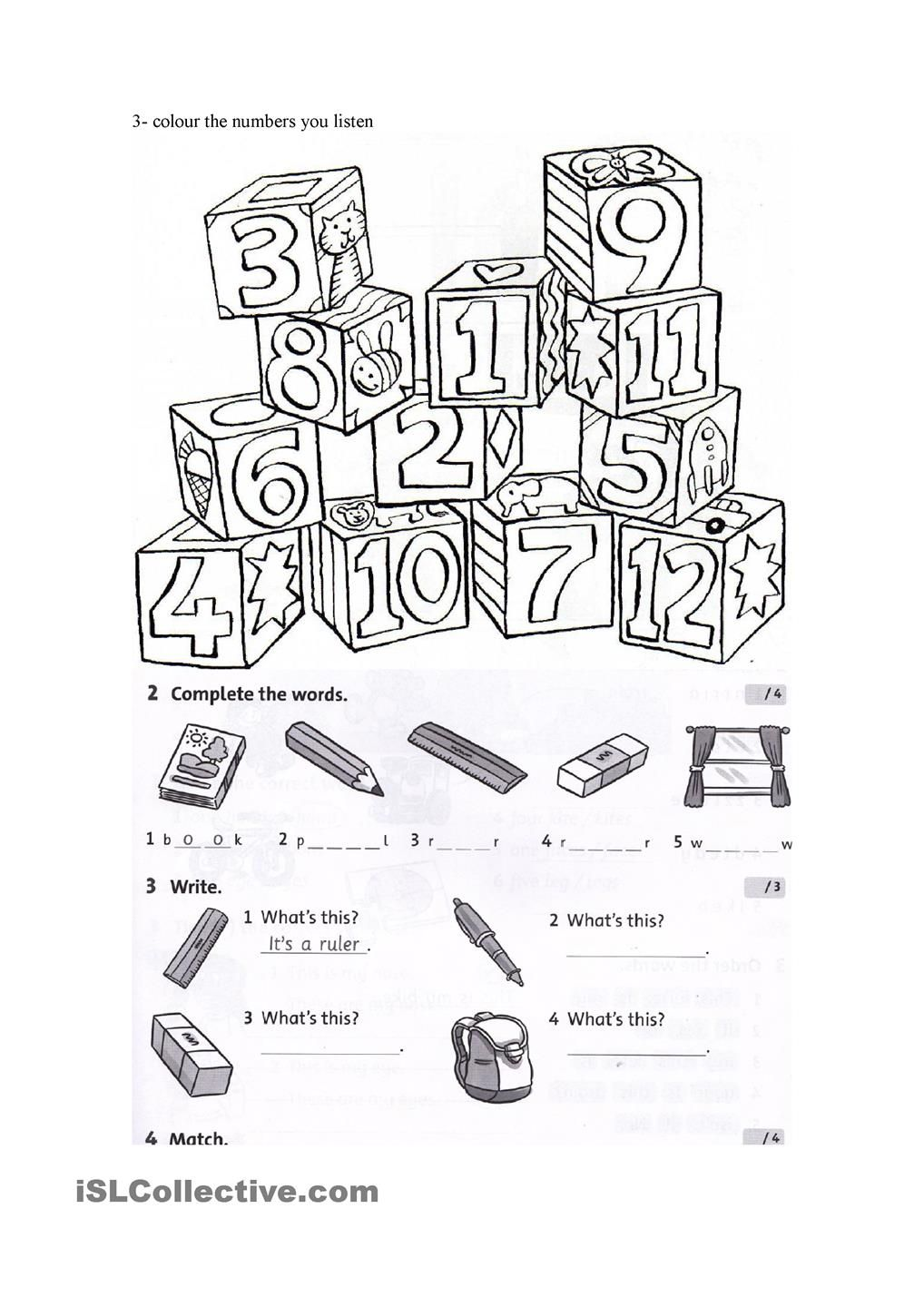 test on colours, numbers and school objects | English classes ...