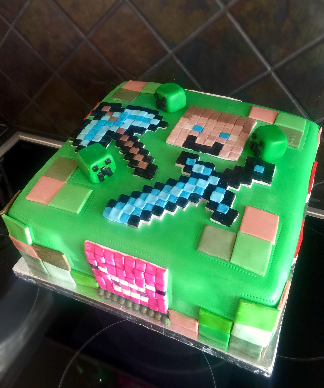 [homemade] Minecraft cake Food Recipes Homemade
