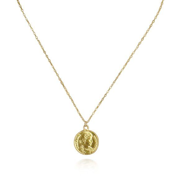 41bbd688388df Large gold Coin pendant, gold coin necklace, dainty coin necklace ...