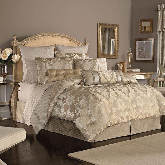 9 Pc Croscill Giselle Queen Comforter Set Euro Shams Pillows Gold