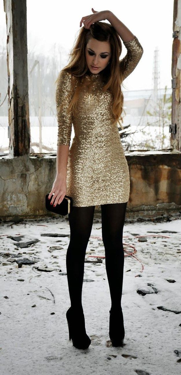 Shiny metallic gold sequined minidress and opaque black hose