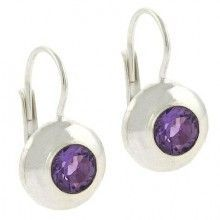 Bold Sterling Silver Genuine Amethyst stone Circle LeverBack Lever Back Earrings