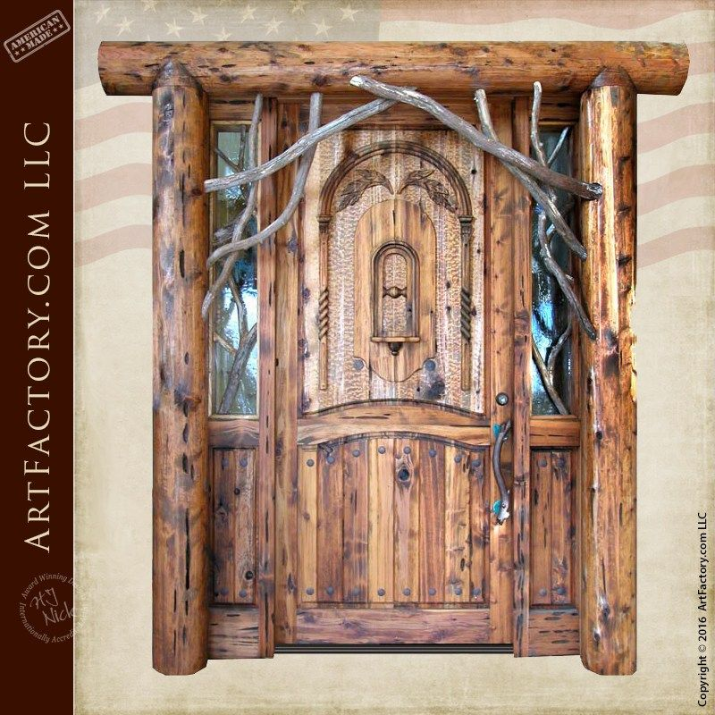 Rustic Log Cabin Door Custom Solid Wood Entrance Doors 3221hc