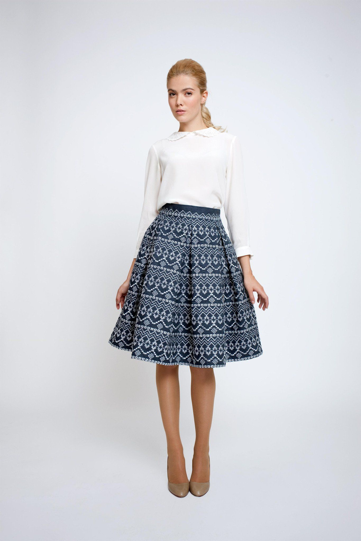 86b8f27128 Amalfi Striped Midi Skirt by Rumour London. Embroidered flared skirt – RUMOUR  LONDON